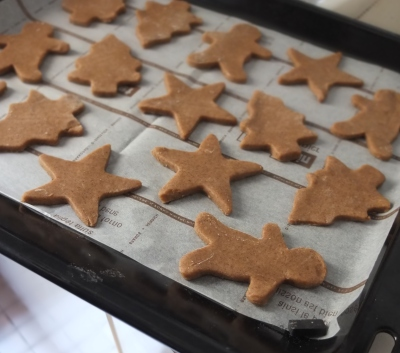 Baking the spiced biscuits
