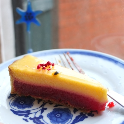 Passion fruit and raspberry tart