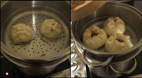 Char siu bao steaming in a double boiler