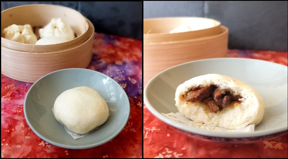 Char siu bao - upside-down and smooth