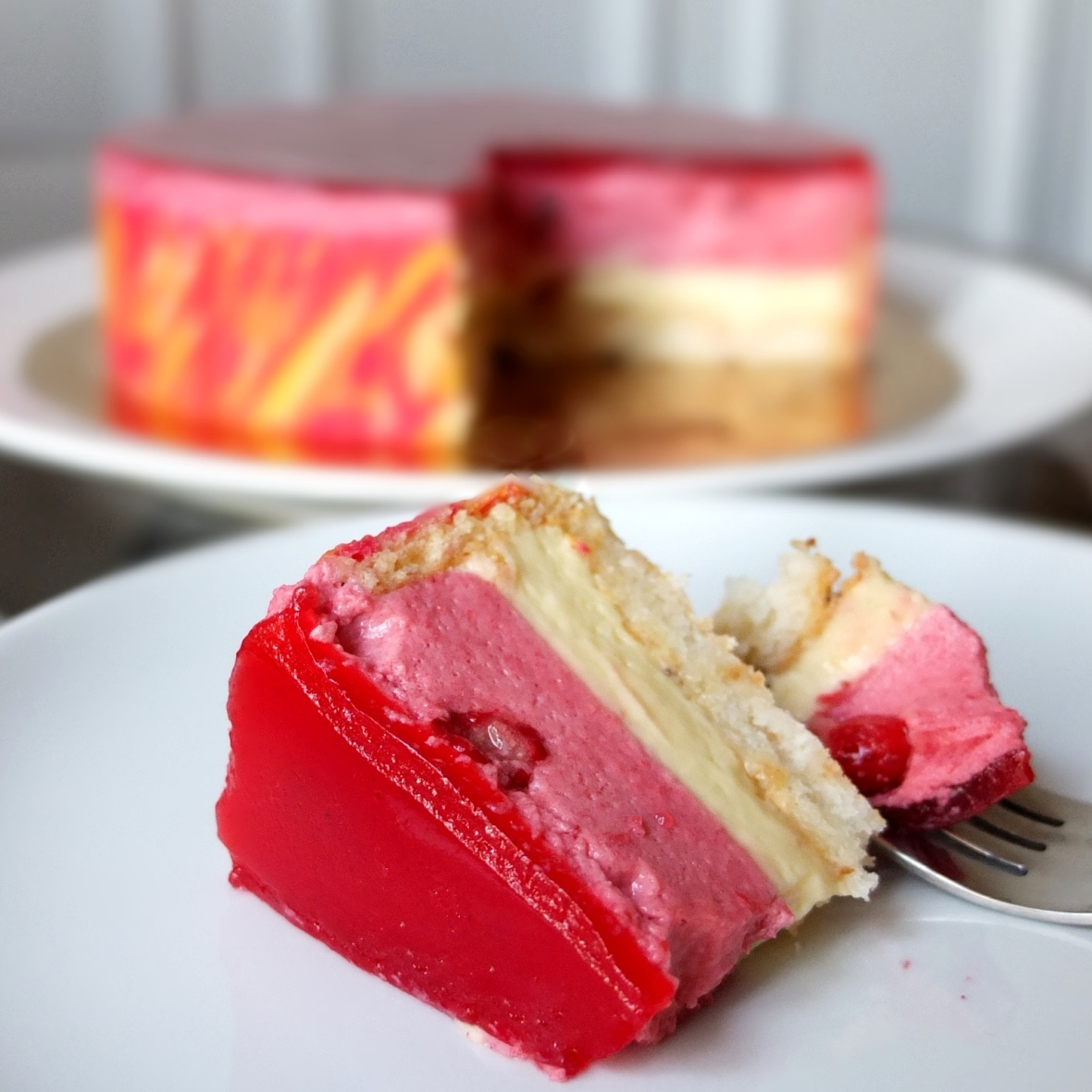 Entremets passionata - passionfruit and raspberry mousse cake