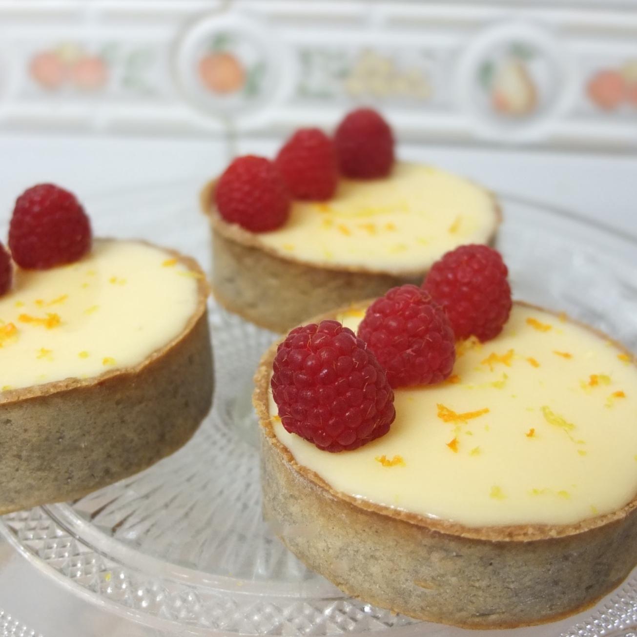 Healthier St Clement's raspberry tarts