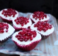 pomegranate red velvet cupcakes