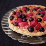 Baked gingery fruit and quark tart (with optional inverted puff pastry)