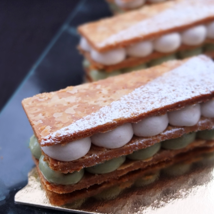 matcha white chocolate and chestnut millefeuilles