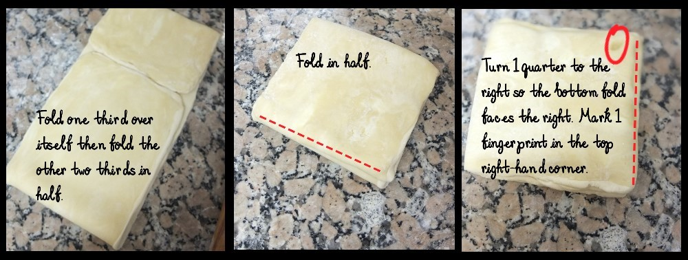 First double turn - inverted puff pastry