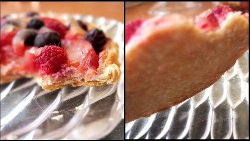 fruit tart with inverted puff pastry base - no soggy bottom