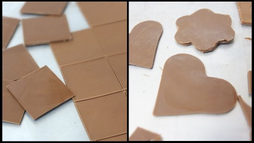 Chocolate shapes with tempered chocolate