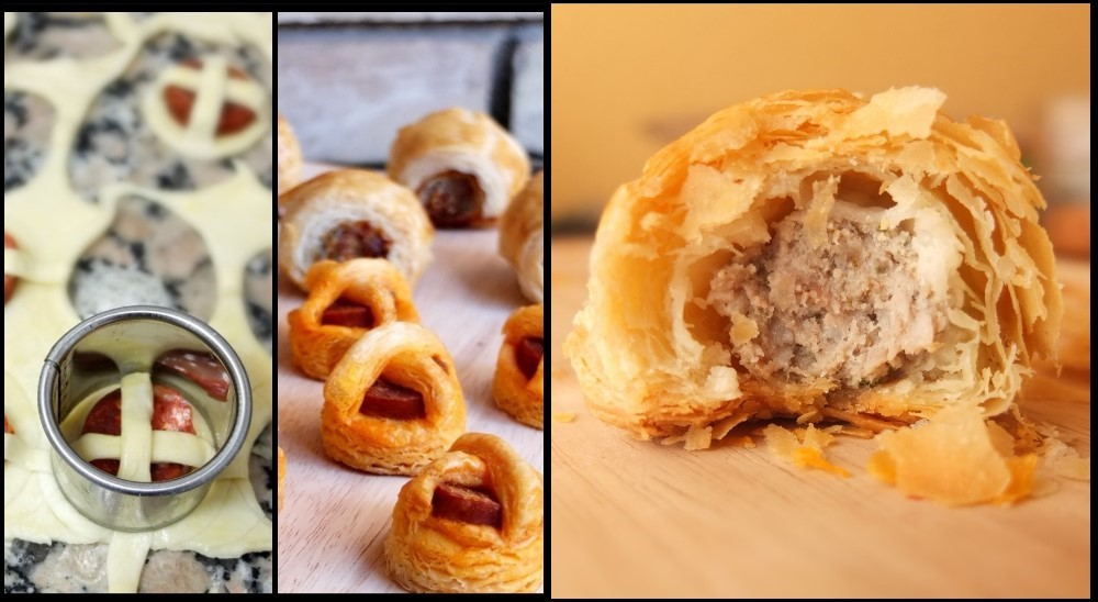 Chorizo bites and sausage rolls with inverted puff pastry
