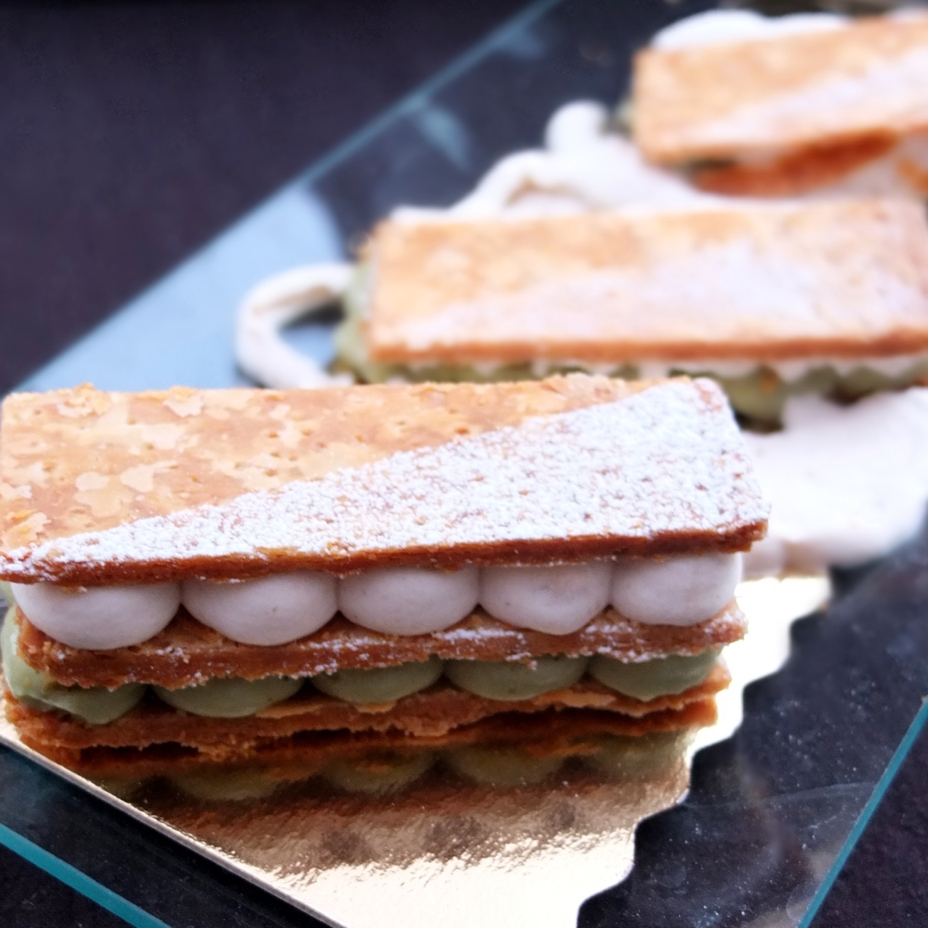 Matcha white chocolate and chestnut millefeuilles - the accident