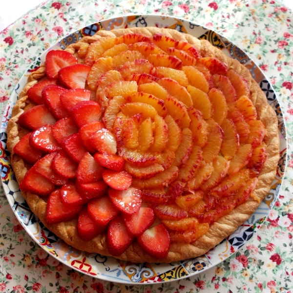 Easy blood orange frangipane tart