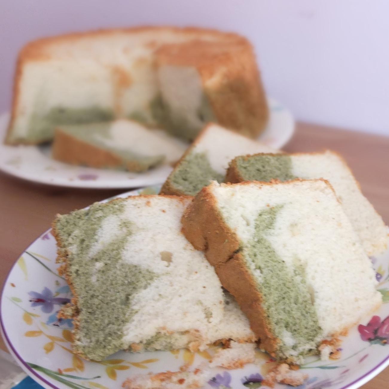 Matcha and vanilla angel food cake