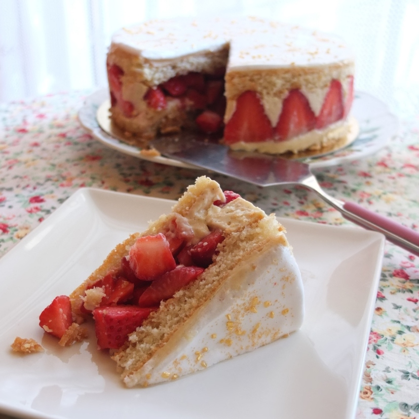 Healthier Fraisier (strawberry cake)