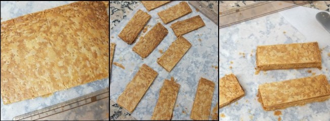Matcha millefeuilles - cutting the puff pastry