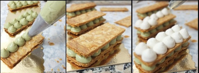 Matcha millefeuilles - piping