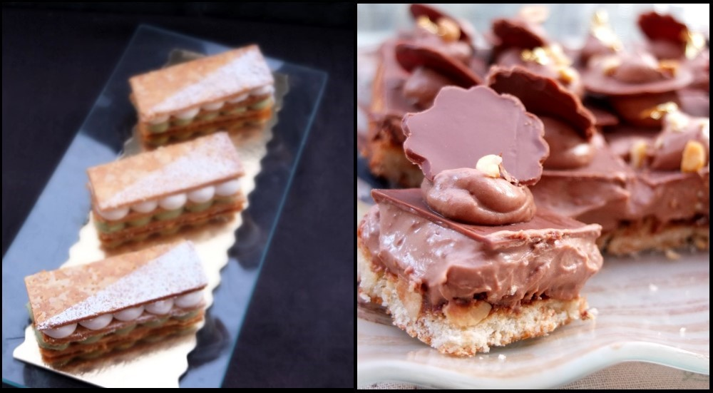 Millefeuilles and choco hazelnut cake