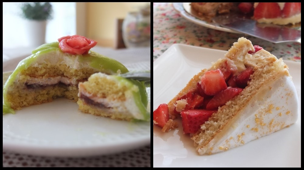 xylitol genoise sponge in princess and Fraisier cakes