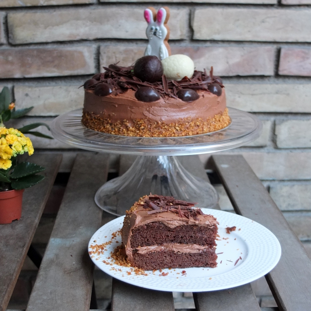 Easter gooey chocolate and vanilla sponge cake