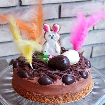 moist Easter chocolate and vanilla sponge cake
