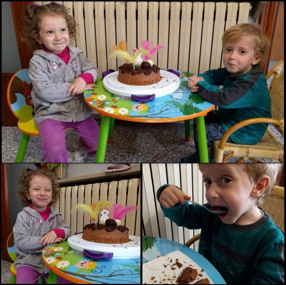 Eating the Easter chocolate and vanilla sponge cake