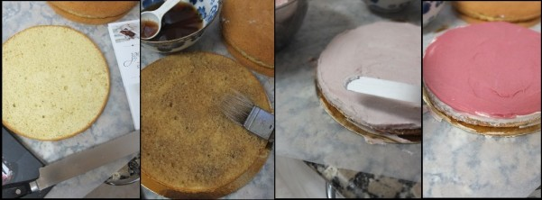 Assembling the chai cake 1