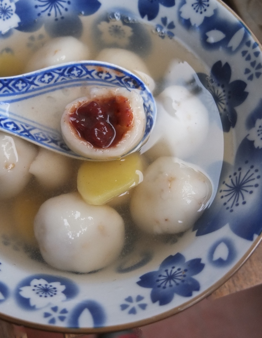 Red bean dumplings in ginger broth