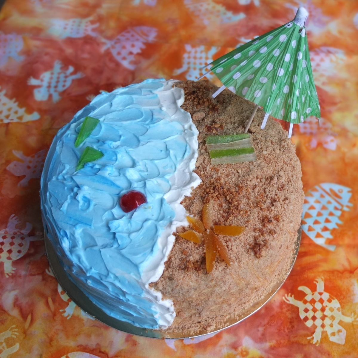 Week 55 of cakes and how to make a beach cake - easy!  :)