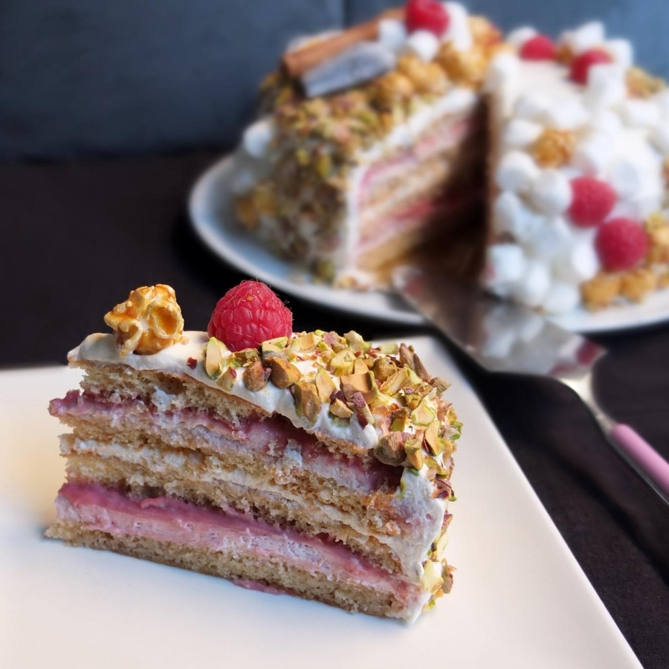 Masala chai, raspberry and pistachio layer cake recipe ...