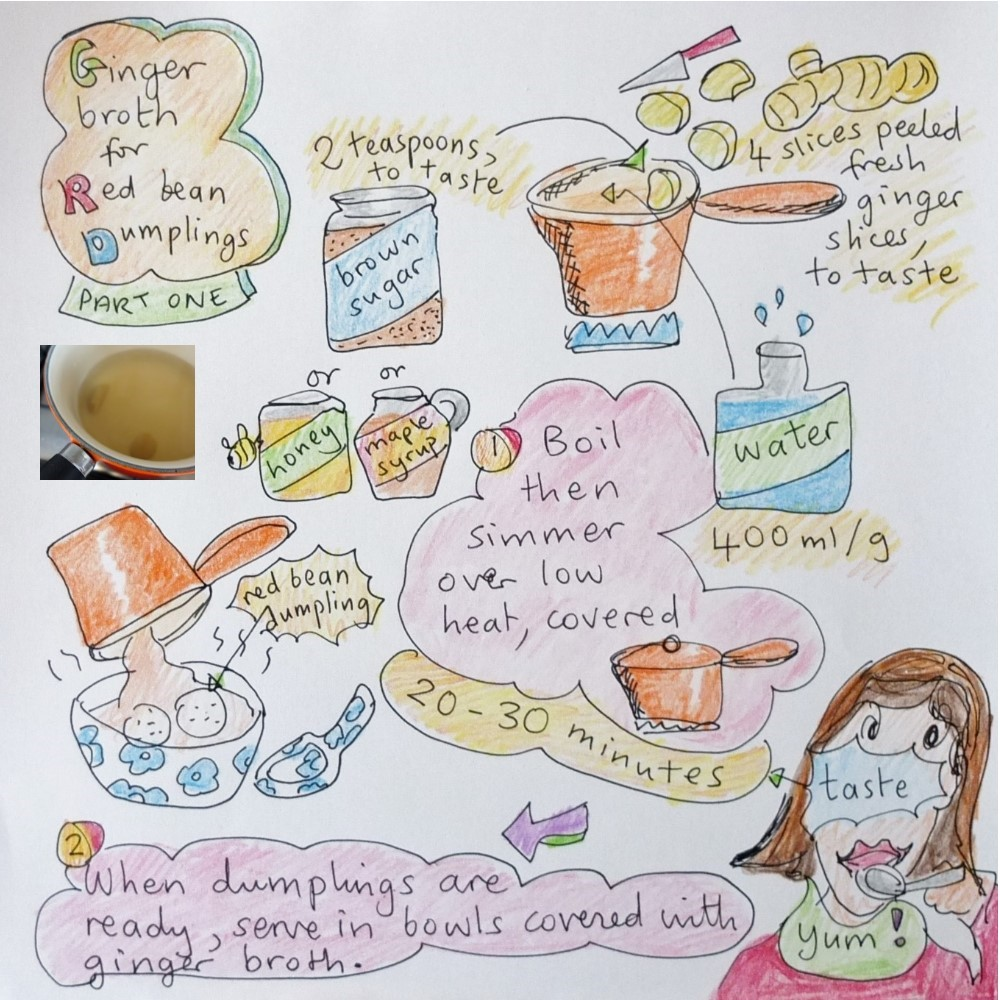 Ginger broth - red bean dumplings part 1 illustrated recipe
