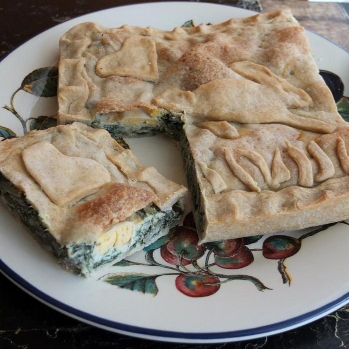 Torta pasqualina, Italian easter pie with swiss chard, cheese, quark and quail's eggs