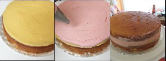 Lemon drizzle layer cake assembly