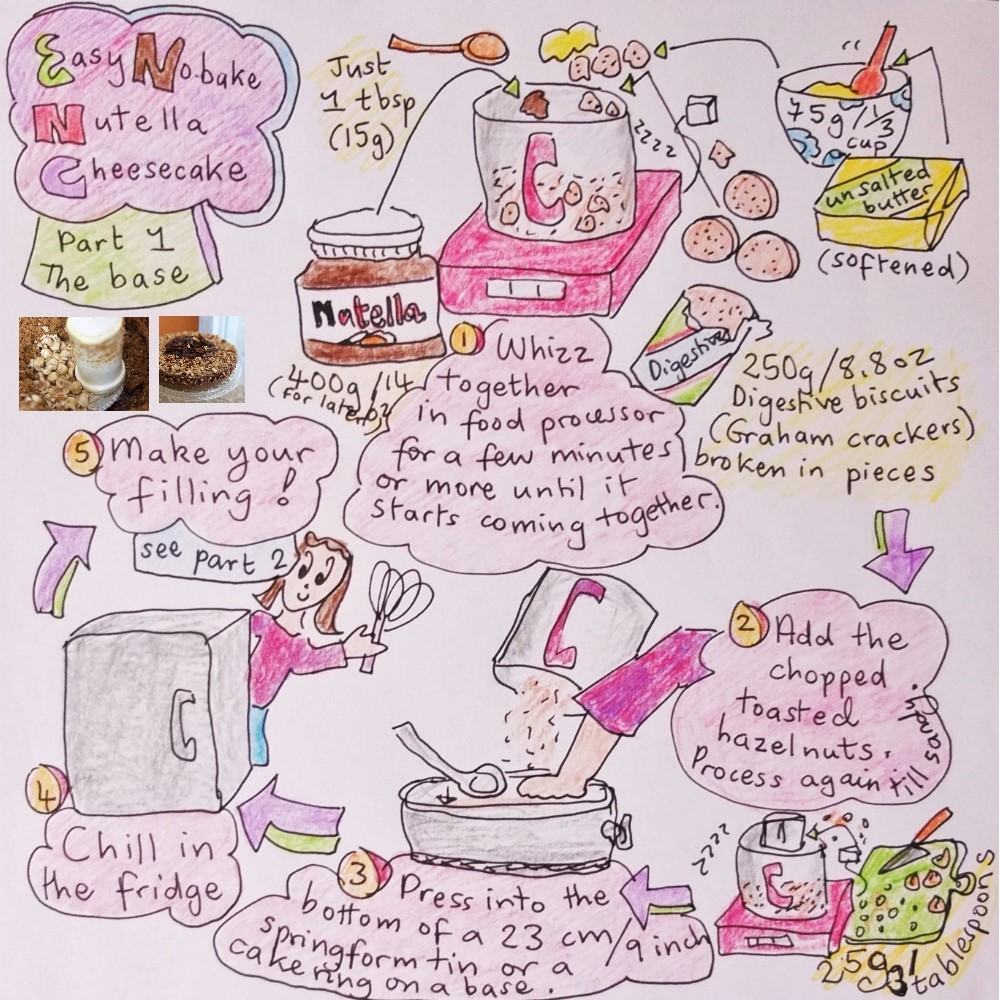 Nutella cheesecake illustrated recipe part 1