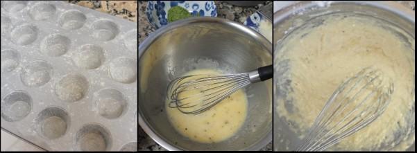 Pesto spelt mini muffins - making 1