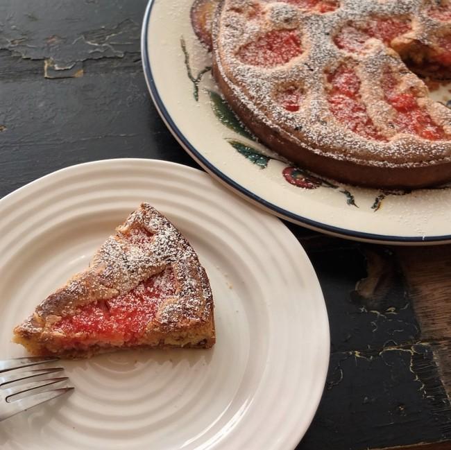 Healthier pink grapefruit almond tart