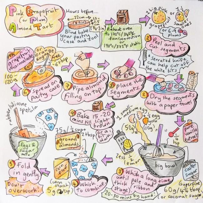 Healthier pink grapefruit or plum almond tart illustrated recipe