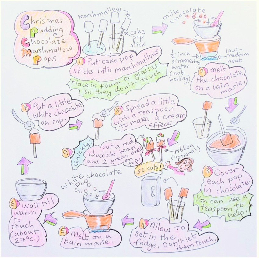 christmas-pudding-chocolate-marshmallow pops illustrated recipe