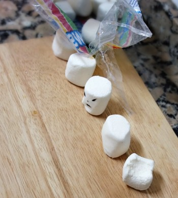 Marshmallows line up