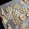 White chocolate piped snowflake decorations