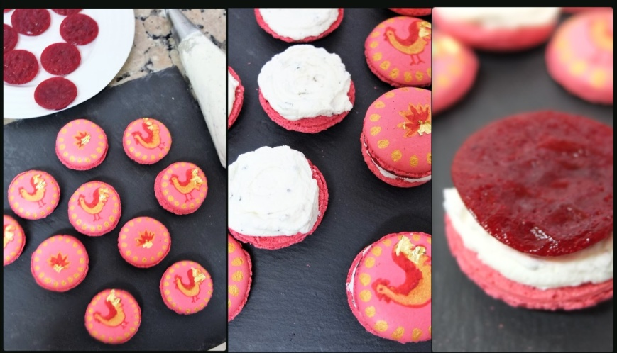 assembling-raspberry-black-pepper-cheesecake-macarons