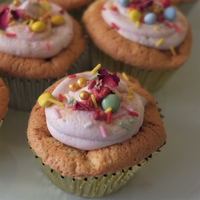 Sprinkle cloud cupcakes with matcha souffñé sponge and healthier raspberry frosting