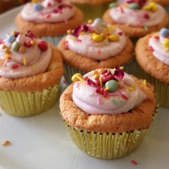 Sprinkle cloud cupcakes with matcha or vanilla soufflé sponge and healthier raspberry frosting