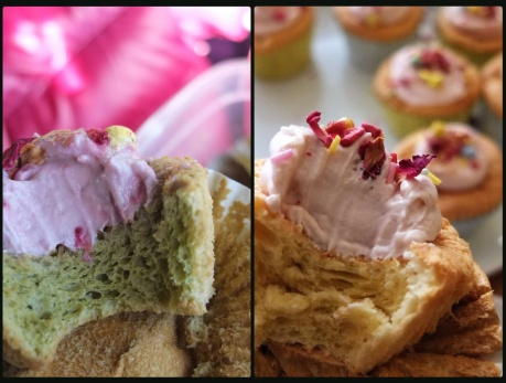 Sprinkle cloud cupcakes with matcha or vanilla soufflé sponge