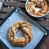 Ham, cheese and pistachio bread wreath recipe!  Couronne salée!