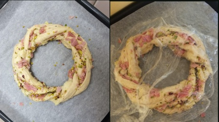Pain de mie wreath -dough on tray