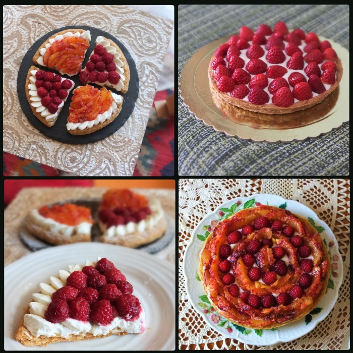 Fresh fruit and cream puff pastry tarts - with raspberries and blood oranges or strawberries