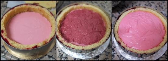 Assembling 2 ultra raspberry cloud mousse cake