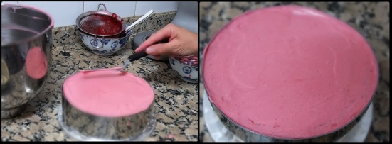 Assembling 3 ultra raspberry cloud mousse cake