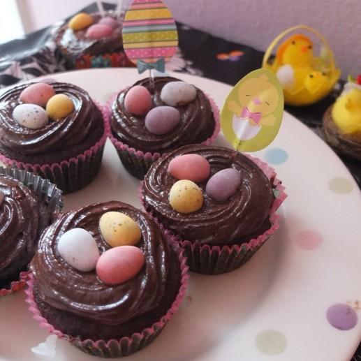 Vegan chocolate easter cupcakes