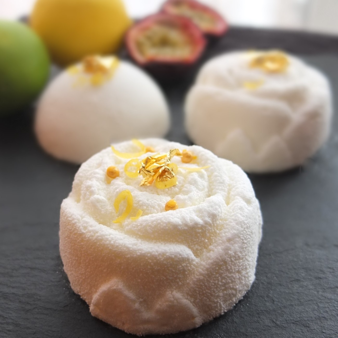 Citrus passion: lemon-lime passionfruit mousse cakes