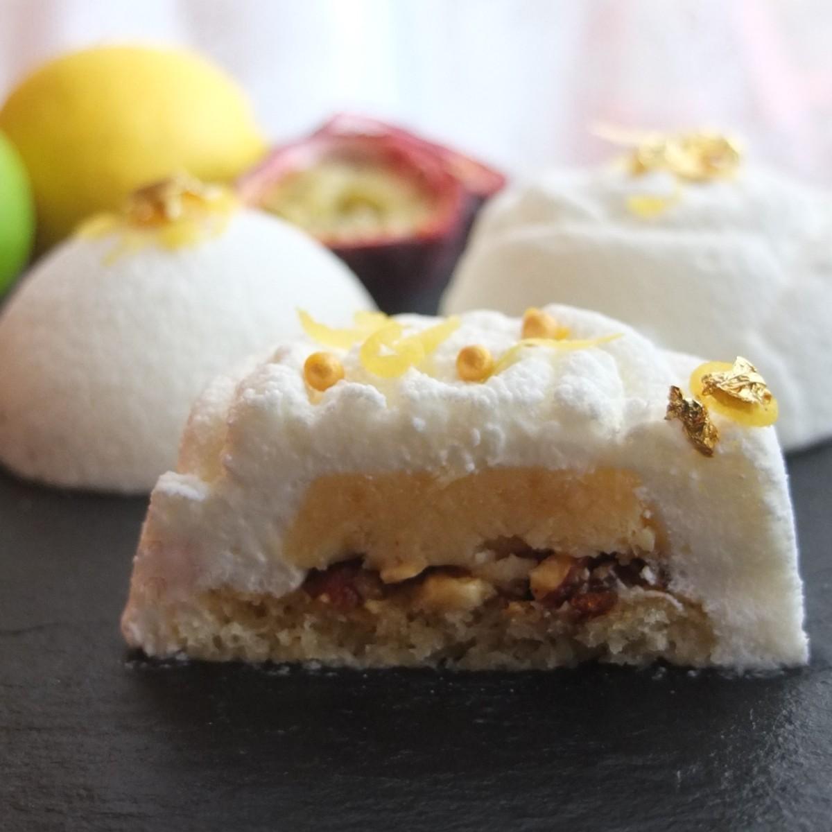 White citrus passion:  lemon-lime passionfruit mousse cakes recipe!  Decorated with white velvet spray!